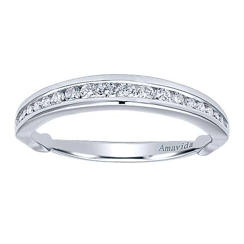 18k White Gold Diamond Wedding Band angle 5