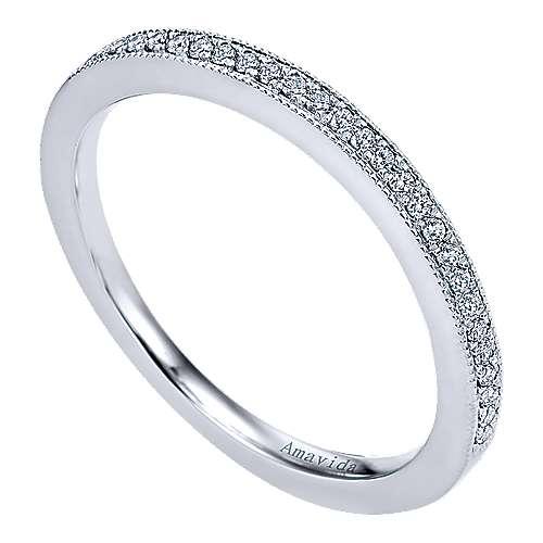 18k White Gold Diamond Wedding Band angle 3