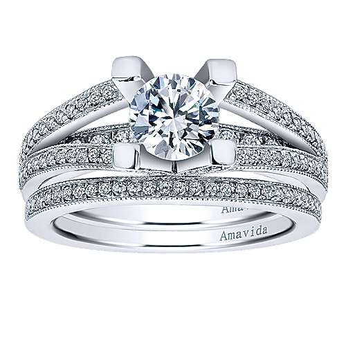 18k White Gold Diamond Wedding Band angle 4