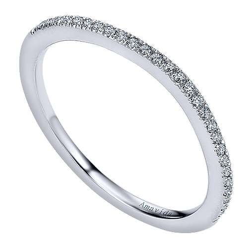 18k White Gold Diamond Wedding Band angle 3