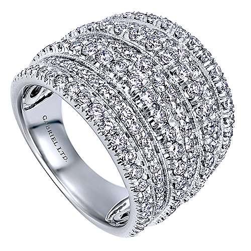 18k White Gold Diamond Wide Band Ladies