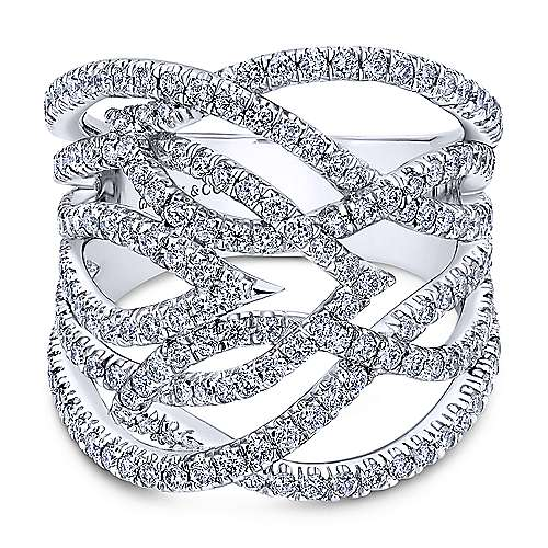 Gabriel - 18k White Gold Kaslique Wide Band Ladies' Ring