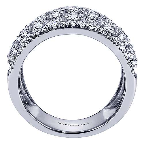 18k White Gold Diamond Wide Band Ladies