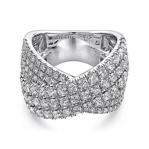 Gabriel - 18k White Gold Contemporary Wide_band Ladies' Ring