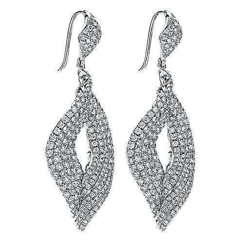 18k White Gold Drop Earrings angle 2