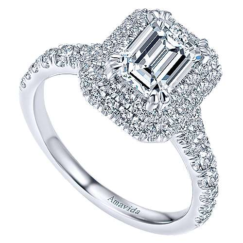 18k White Gold Emerald Cut Double Halo Engagement Ring angle 3