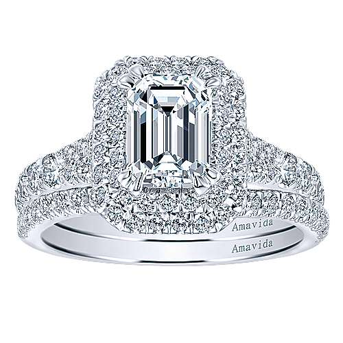 18k White Gold Emerald Cut Double Halo Engagement Ring angle 4