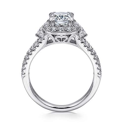 18k White Gold Emerald Cut Halo Engagement Ring angle 2