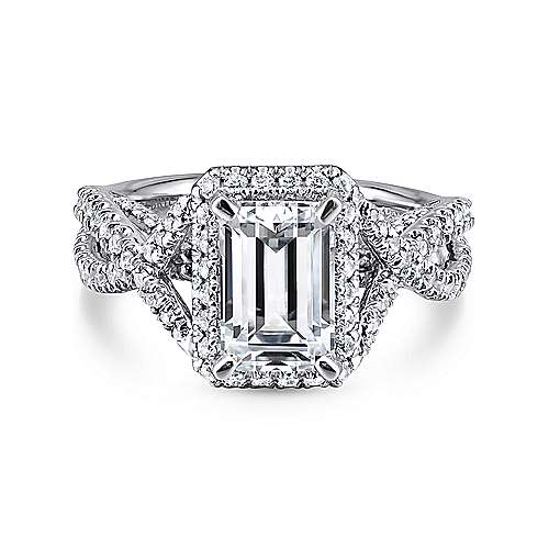 Gabriel - 18k White Gold Emerald Cut Halo Engagement Ring