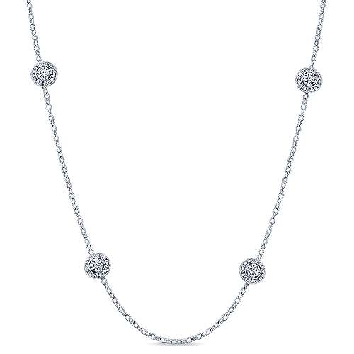 Gabriel - 18k White Gold Endless Diamonds Station Necklace