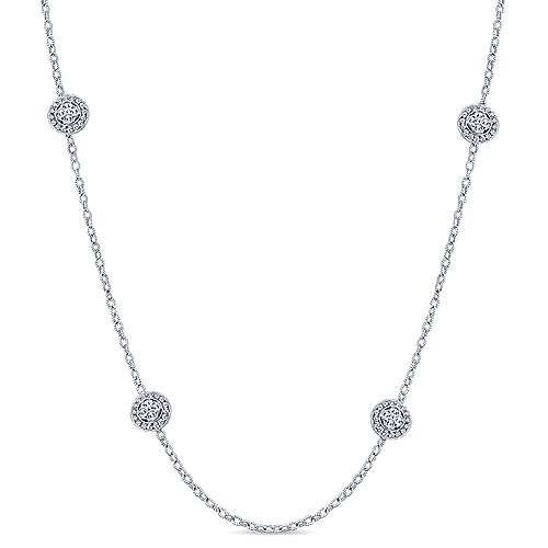 18k White Gold Endless Diamonds Station Necklace angle 1
