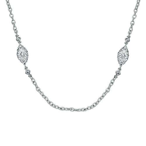 18k White Gold Endless Diamonds Station Necklace angle 1