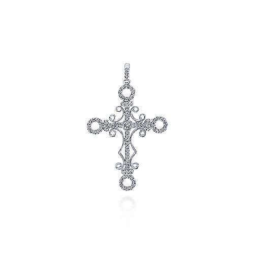 18k White Gold Faith Cross Cross Pendant