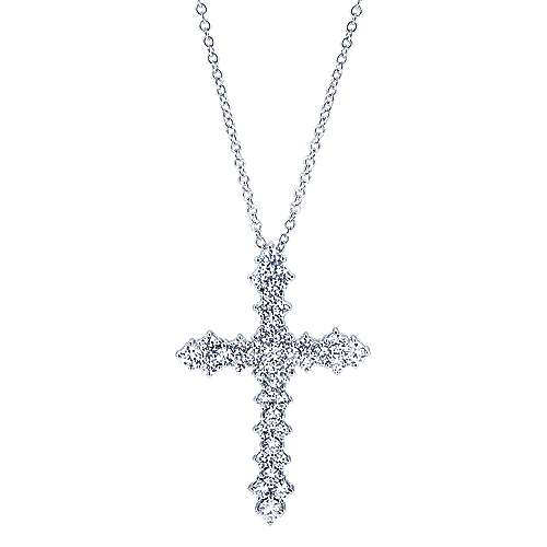 18k White Gold Faith Cross Necklace angle 1