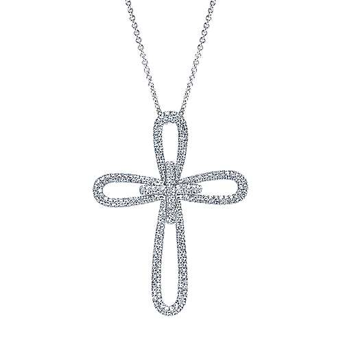 18k white gold faith cross necklace nk3515w84jj gabriel co 18k white gold faith cross necklace aloadofball Image collections