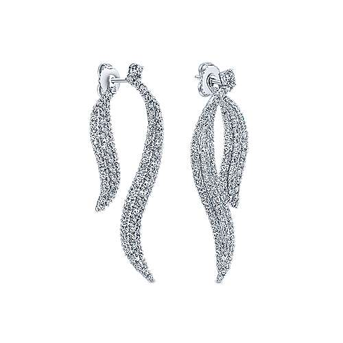 18k White Gold Kaslique Drop Earrings angle 2