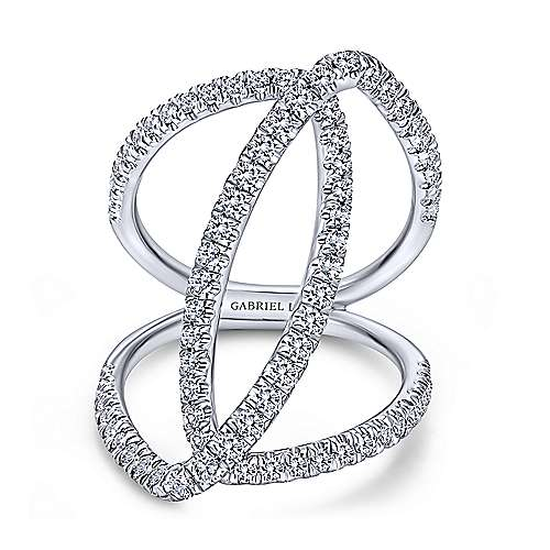 18k White Gold Kaslique Wide Band Ladies' Ring angle 1