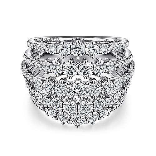 Gabriel - 18k White Gold Layered Wide Band Diamond Fashion Ring