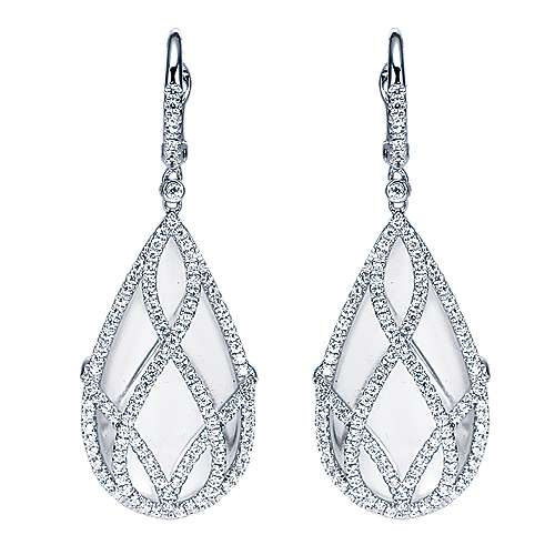 18k White Gold Lusso Color Drop Earrings angle 1