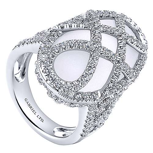 18k White Gold Lusso Fashion Ladies' Ring angle 3
