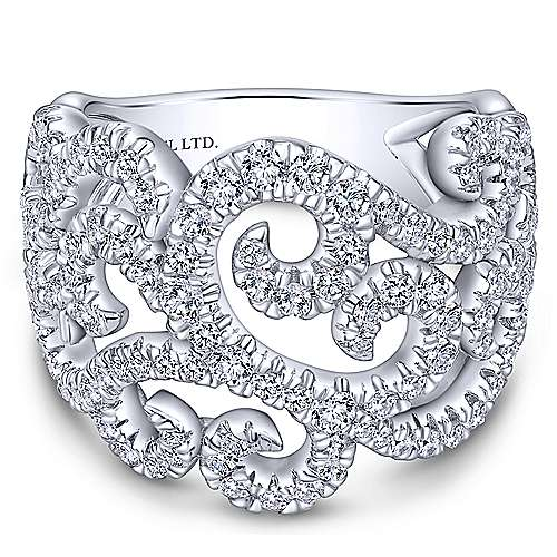 Gabriel - 18k White Gold Lusso Wide Band Ladies' Ring