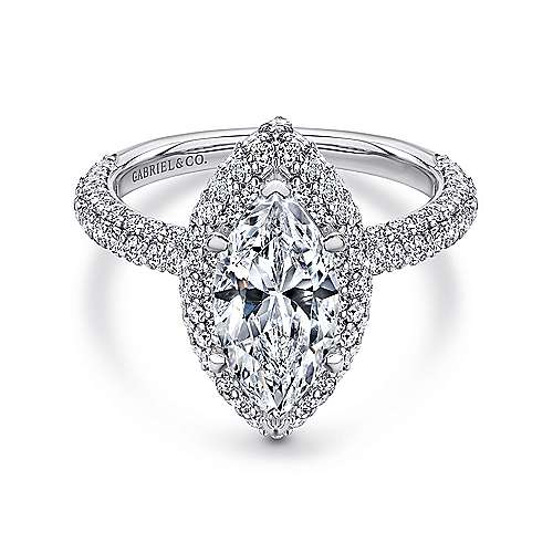Gabriel - 18k White Gold Marquise  Double Halo Engagement Ring
