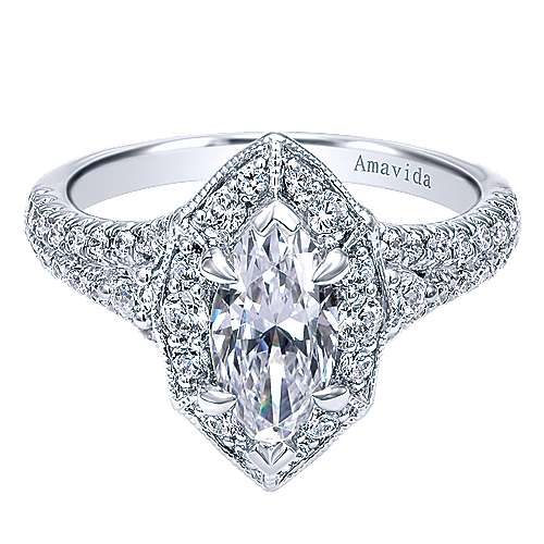 Gabriel - 18k White Gold Marquise  Halo Engagement Ring