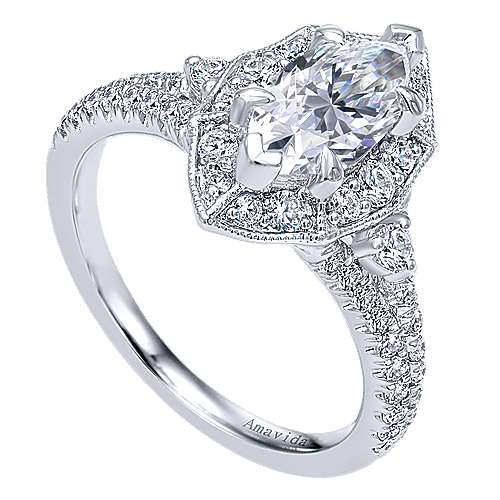 18k White Gold Marquise  Halo Engagement Ring angle 3