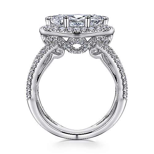 18k White Gold Marquise  Halo Engagement Ring angle 2
