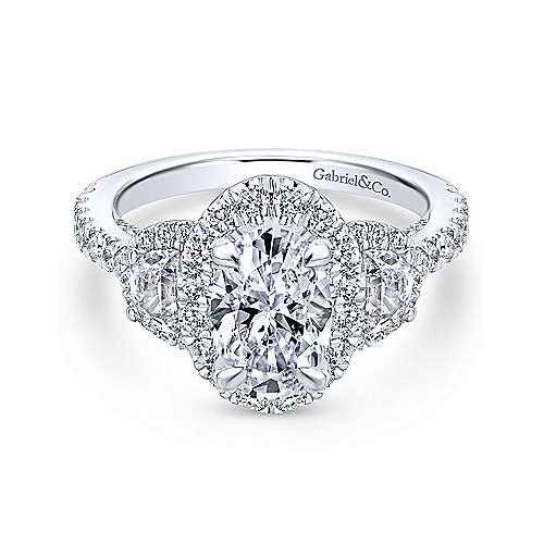 Gabriel - 18k White Gold Oval 3 Stones Halo Engagement Ring