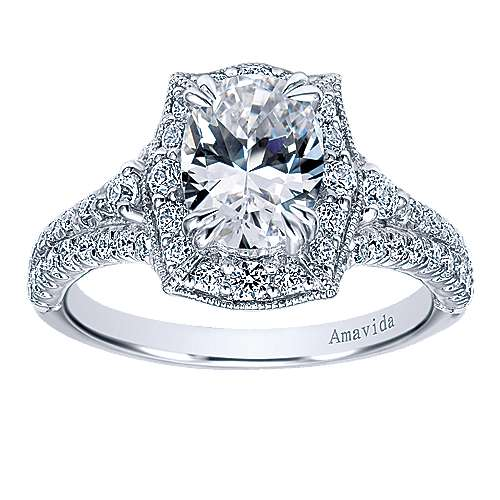 18k White Gold Oval Halo Engagement Ring angle 5