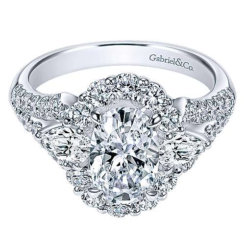Gabriel - 18k White Gold Oval Halo Engagement Ring