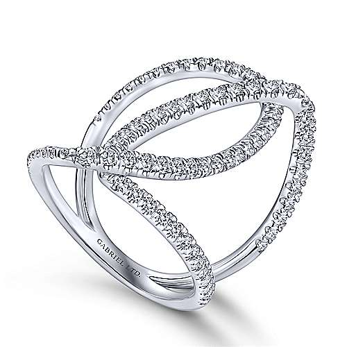 18k White Gold Pave Diamond Criss Cross Wide Band Ladies