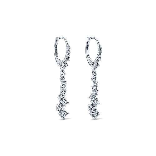 18k White Gold Pave Diamond Drop Earrings angle 2
