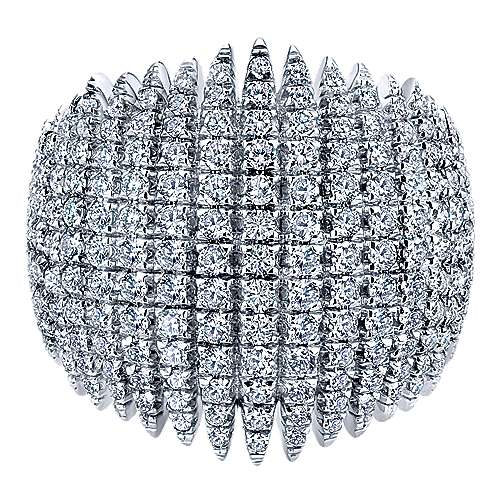 18k White Gold Pave Diamond Edgy Wide Band Ladies