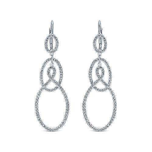 Gabriel - 18k White Gold Contemporary Drop Earrings