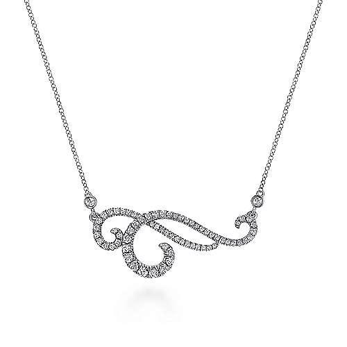 18k White Gold Pave Diamond Flourish Fashion