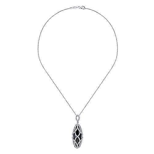 18k White Gold Pave Diamond Overlay Black Onyx Oval Fashion Necklace angle 2