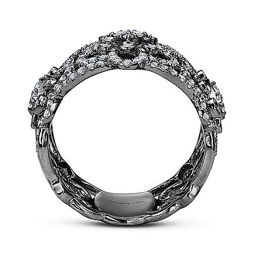 18k White Gold Pave Diamond Scrollwork Wide Band Ladies