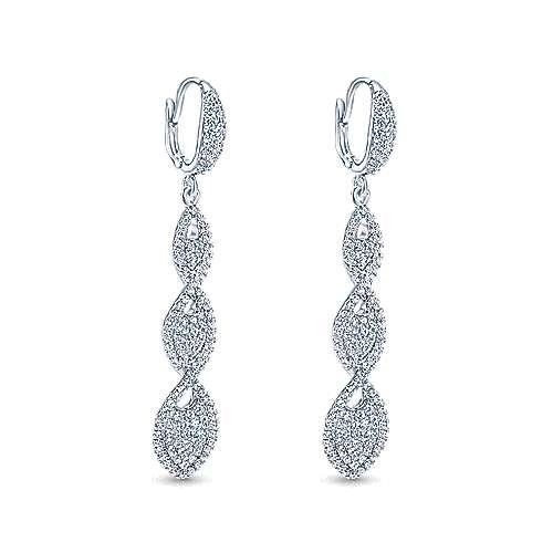 18k White Gold Pave Diamond Twisted Drop Earrings angle 2
