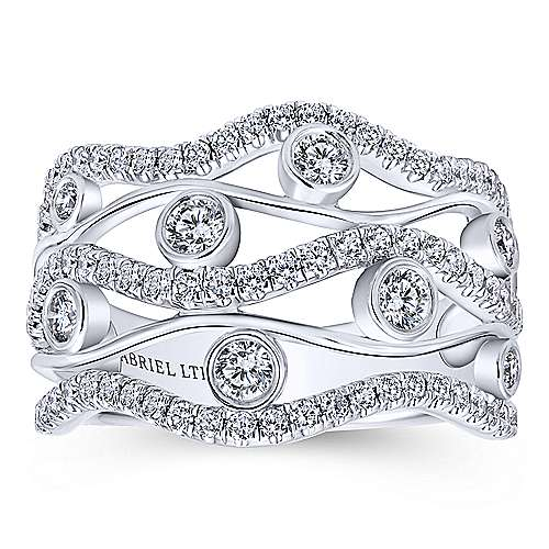 18k White Gold Pave Diamond Wide Band Ladies