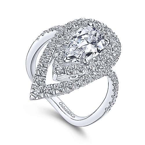 18k White Gold Pear Shape Double Halo Engagement Ring angle 3