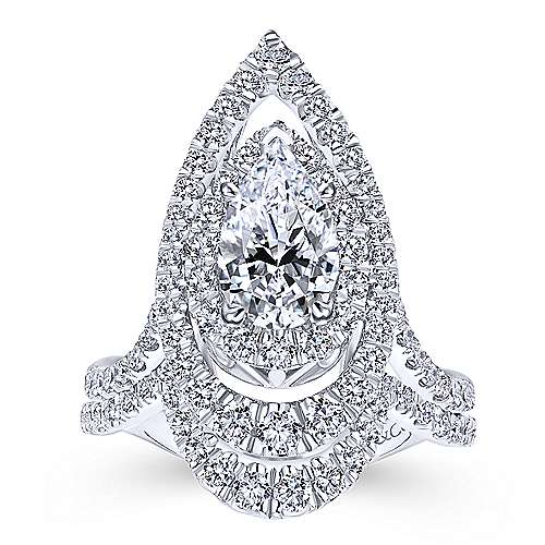 18k White Gold Pear Shape Double Halo Engagement Ring angle 4