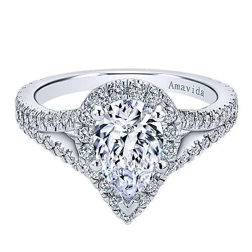 Gabriel - 18k White Gold Pear Shape Halo Engagement Ring