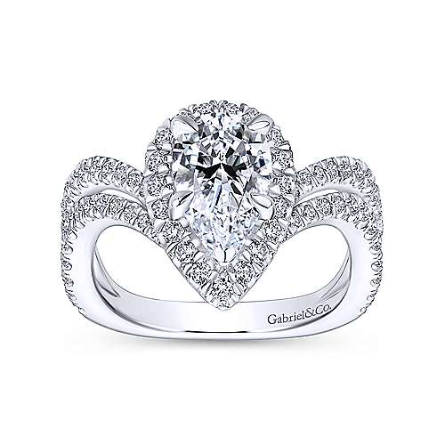 18k White Gold Pear Shape Halo Engagement Ring angle 5
