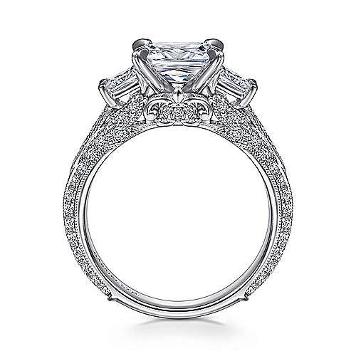 18k White Gold Princess Cut 3 Stones Engagement Ring angle 2