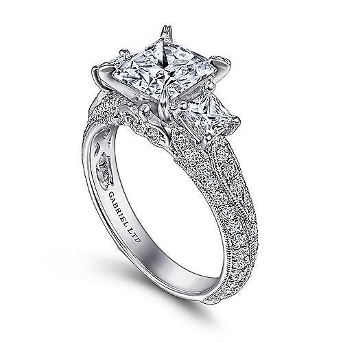 18k White Gold Princess Cut 3 Stones Engagement Ring angle 3