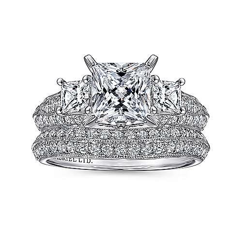 18k White Gold Princess Cut 3 Stones Engagement Ring angle 4