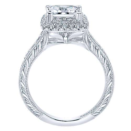 18k White Gold Princess Cut Double Halo Engagement Ring angle 2