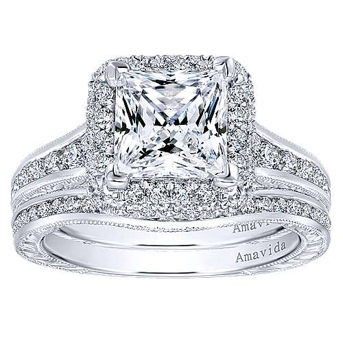 18k White Gold Princess Cut Double Halo Engagement Ring angle 4
